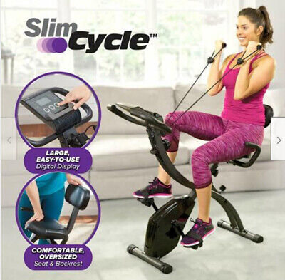 As Seen On Tv Slim Cycle 2-In-1 Stationary Bike - Folding Indoor Exercise