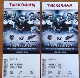 2 x Barbarians vs All Blacks rugby tickets at Twickenham, Saturday 4th November at 3pm