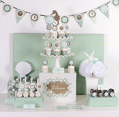 Beach Theme Mod Party Decorations Kit for Wedding Shower Birthday All Occassion](Beach Wedding Shower Decorations)