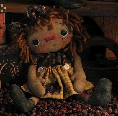 PATTERN Primitive Raggedy Ann Doll /& Beehive Ornie UNCUT Threadbare Primitives