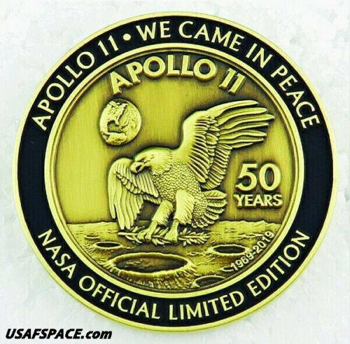 APOLLO 11 50th Anniversary -BACK TO THE MOON-LUNAR FLOWN METAL MEDALLION - COA