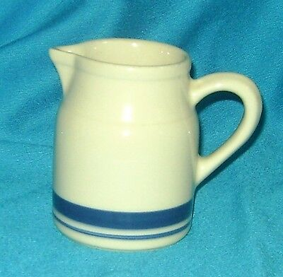 FP TAN CREAMER ROSEVILLE OHIO 8 OZ FRIENDSHIP POTTERY 2 BLUE STRIPED BANDS