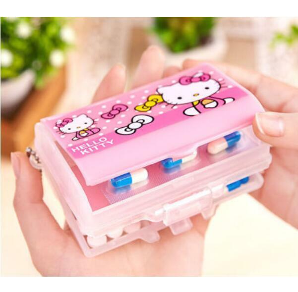 Cute Hello Kitty Bow Pill Box Organizer Medicine Vitamin Storage Travel Keychain