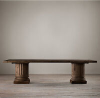 Salvaged Wood Architectural Column Rectangular Dining Table