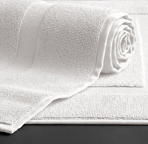 "LUXURY 5* HOTEL GRADE ""AVANTI"" TERRY WHITE BATH MATS"