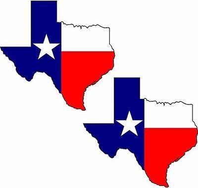 "2 - 3""x3"" Texas State Decal SET Flag Star Map Texan TX Car Vinyl Window Sticker"