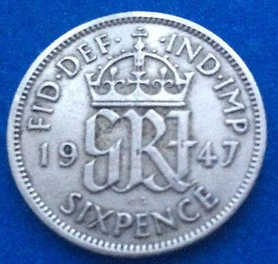 1947 KING GEORGE VI SIXPENCE COIN 70TH BIRTHDAY