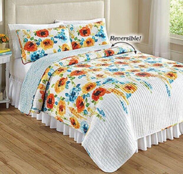 3 Piece Percy Bloom Quilt Set Full/Queen, King, Tangerine/Blue Reversible COTTON Bedding