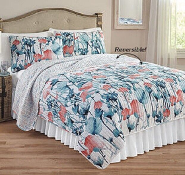 3pc ZURI FLORA QUILT SET King or Queen Floral Flower Blooming Blue Reversible Crafts