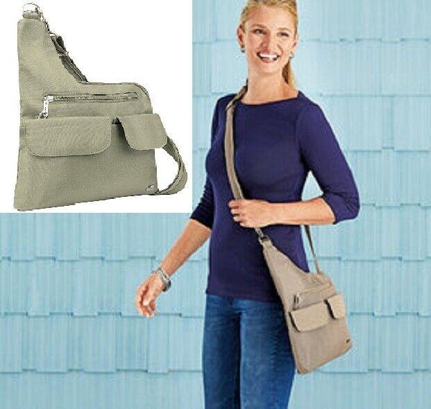 Travelon Anti-Theft Crossbody Bag Stone Anti Theft Slash Resistant Travel Stylis Clothing, Shoes & Accessories