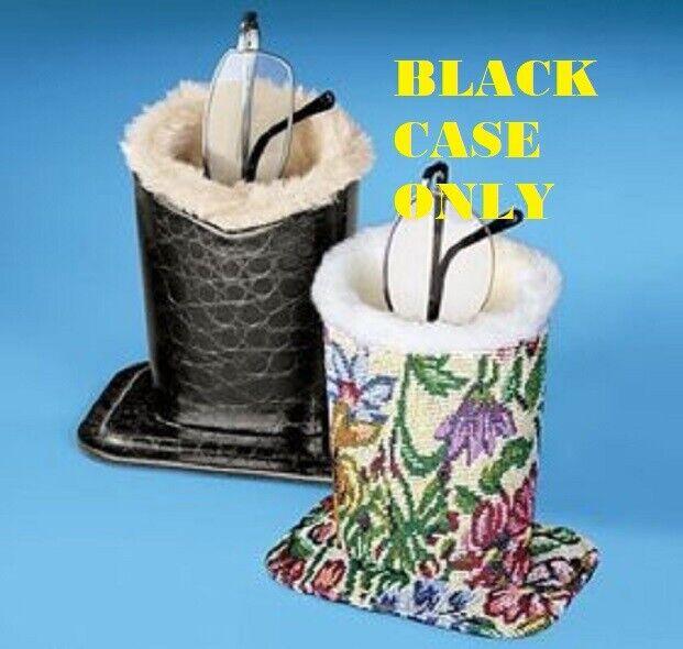 Eyeglass Holder Black Leather-Look Caddy Desk Super-Soft Plush Lining Guards NEW Eyeglass Cases & Storage