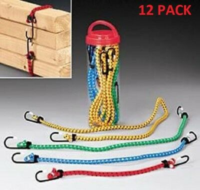 Bungee Cord Value Pack Stretch Tie Down Rope Assortment Heavy Duty, 12 Pieces