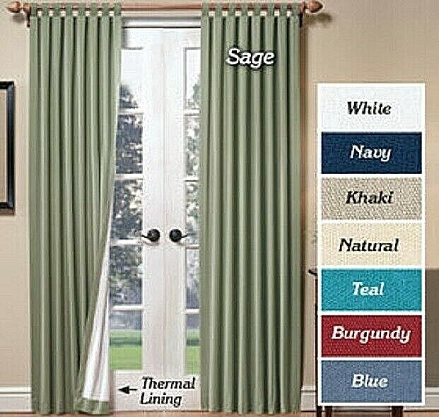 Thermalogic Insulated Tab Top Curtains, Set of 2 Tab Top Curtains Choose Color Curtains & Drapes
