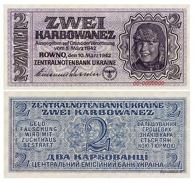 2 Karbowanez, 1942, Zentralnotenbanknote, II WW, Ukraine, Reproduktion