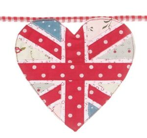 Union Jack Heart Fabric Bunting 2.8m Party Garden Flag Celebration Royal British