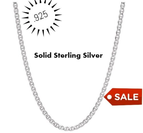 REAL Italian Sterling Silver Mariner Link Chain Necklace
