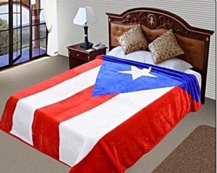 puerto rico flag mink blanket throw bedspread