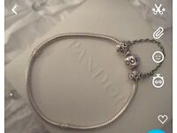 pandora bracelet and safety chain