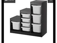 Ikea combination storage unit. Black with white boxes.