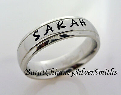 Custom Hand Stamped S/Steel Personalized Name Ring Hand Made 6mm  BCSS-M0021 (Custom Hand Stamp)