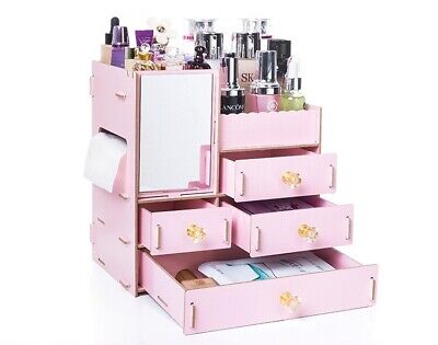 Desk Organizer Wood Office Home Desktop Cosmetics Storage Boxes With Drawer Pink