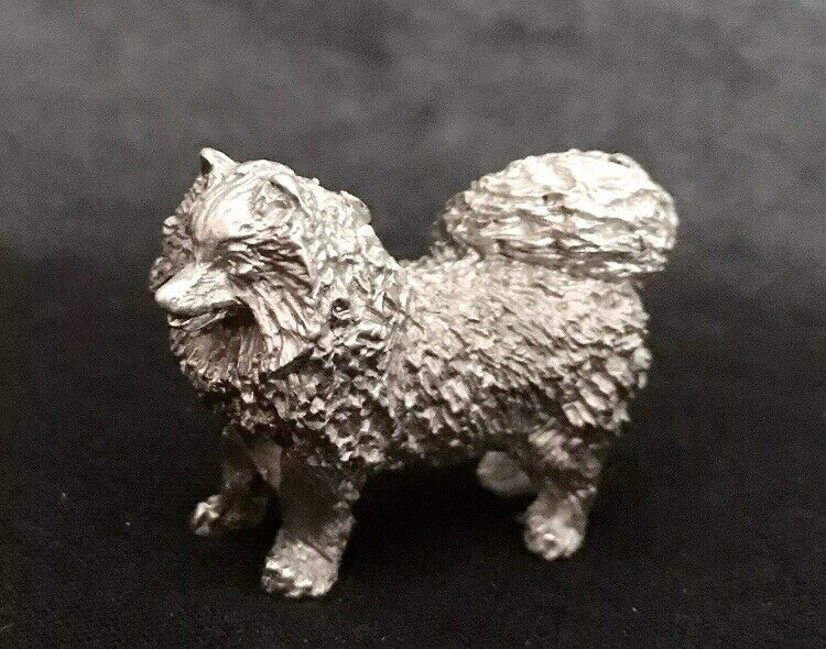 Pewter SAMOYED Spitz Dog Puppy Detailed Silver Metal Figurine Statue O