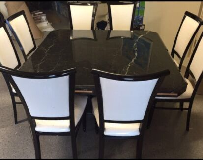 Italian made black marble 10 seater dining table and chairs Sorrento Joondalup Area Preview