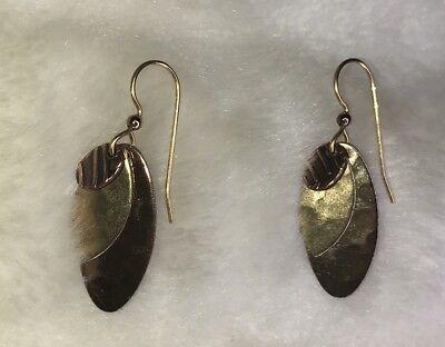 Women earrings Leaves Mixed Metals Hook Back