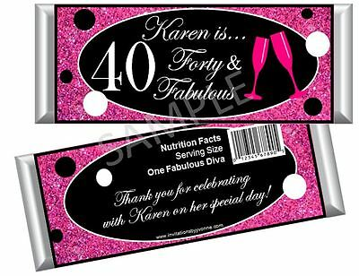Birthday 30th/40th/50th/60th Glittered Diva - For Her Candy Bar Wrappers-Set/12  (Party Supplies For 40th Birthday)