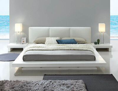 - NEW CRYSTAL ULTRA MODERN WHITE GLOSS WOOD BYCAST LEATHER QUEEN KING PLATFORM BED