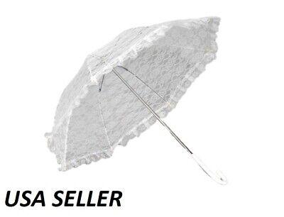Vintage White Lace Parasol Umbrella for Bridal Wedding Party Photo Prop Decor - White Umbrella