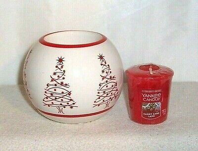 Yankee Candle Holiday Ceramic Red Tree Votive Holder & Candy Cane Lane Votive
