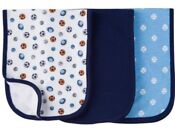 GERBER BABY BOY'S 3-Pack Terry Lined Burp Cloths - Sports - Blue White - NW