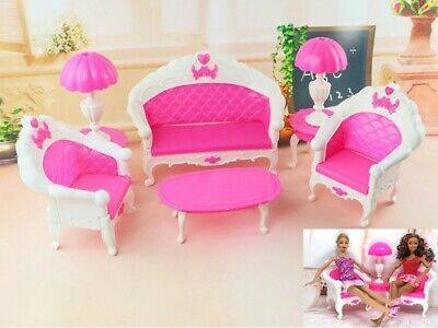 6 Items/Set Doll Accessories Plastic Furniture Sofa Couch Desk Lamp For Barbie