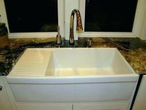36 L x 20W Farmhouse/Apron Sink with Built-In Drainboard