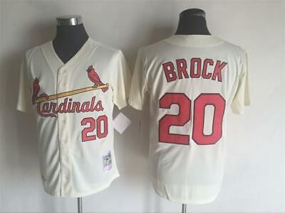 Cardinals #20 Lou Brock Jersey Cream Retro Uniform Men