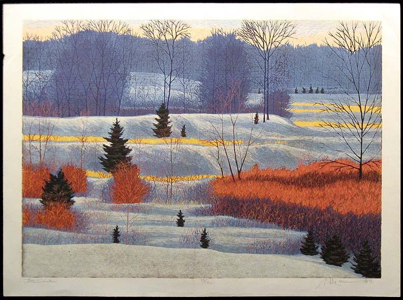 "Gordon Mortensen ""Late Winter"" Hand Signed Woodcut Reduction, snowy fields, OBO"