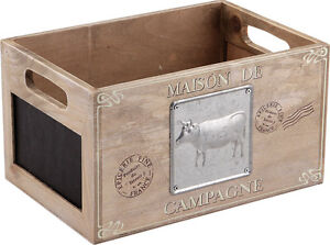 FRENCH WOODEN STORAGE BOX TRUG CRATE FARMYARD CHALKBOARD SHABBY VINTAGE STYLE
