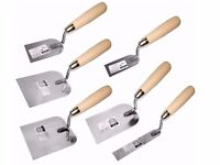 6 x Margin Stucco Bucket Trowel SET of 6pcs Wooden handle. Stainless Steel (FULL SET) NEW