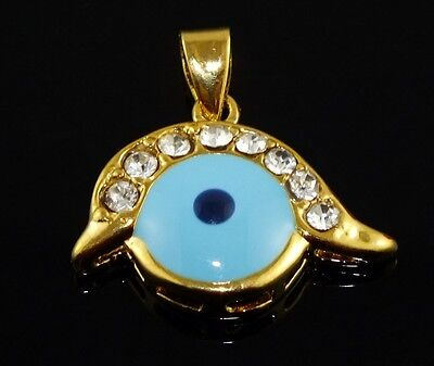 New Alluring 14K Yellow Gold Filled Crystal Evil Eye Pendant Only Jewelry on Rummage