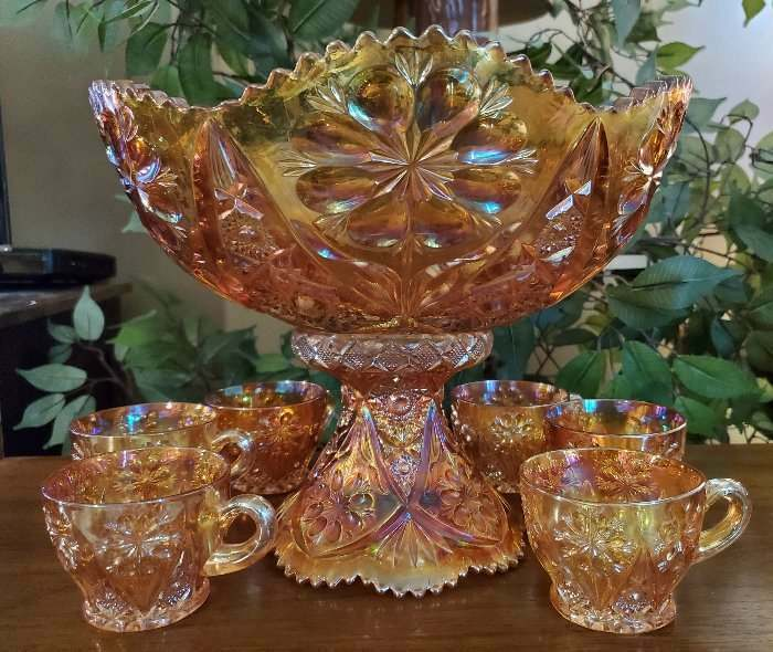 Imperial Glass 474 Marigold Punch Bowl & Cups Carnival Glass Set
