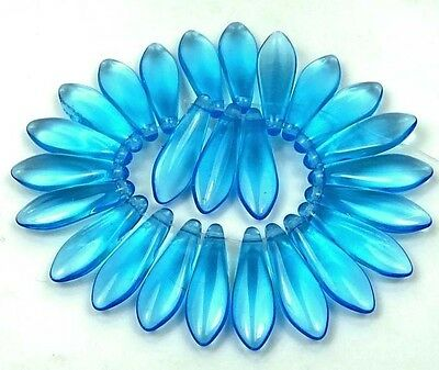 25 Czech Glass Dagger Beads -  Aquamarine 16mm for sale  Marlborough