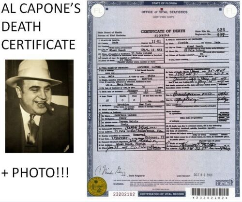 Al Capone Photo + DEATH CERTIFICATE Chicago Prohibition Gangster Mobster