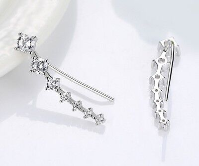 - 925 Sterling Silver Ear Crawler Cuff Climber Earrings Crystal CZ Charm Gift Rose