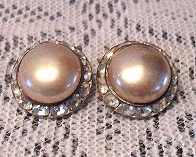Vintage Clip On EARRINGS Costume Jewelry Rhinestones ? Gold Taupe Pearl Stone