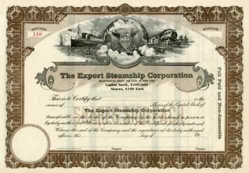 19__ Export Steamship Corp Stock Certificate