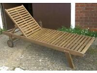 Teak Garden Deck Or Patio Sun Lounger With Three Position Back Support - wooden wood chair