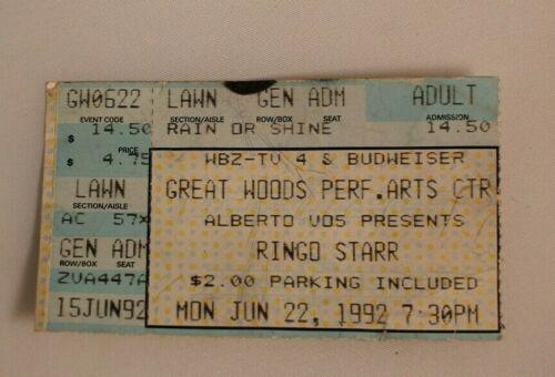 Ringo Starr Ticket Stub June 22nd 1992 Great Woods Performance Art Center