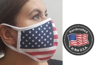137 American Flag 4th of July USA MADE Face Mask SOFT double cotton  Wash reuse