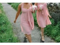 3 adult and 2 child pink bridesmaid dresses